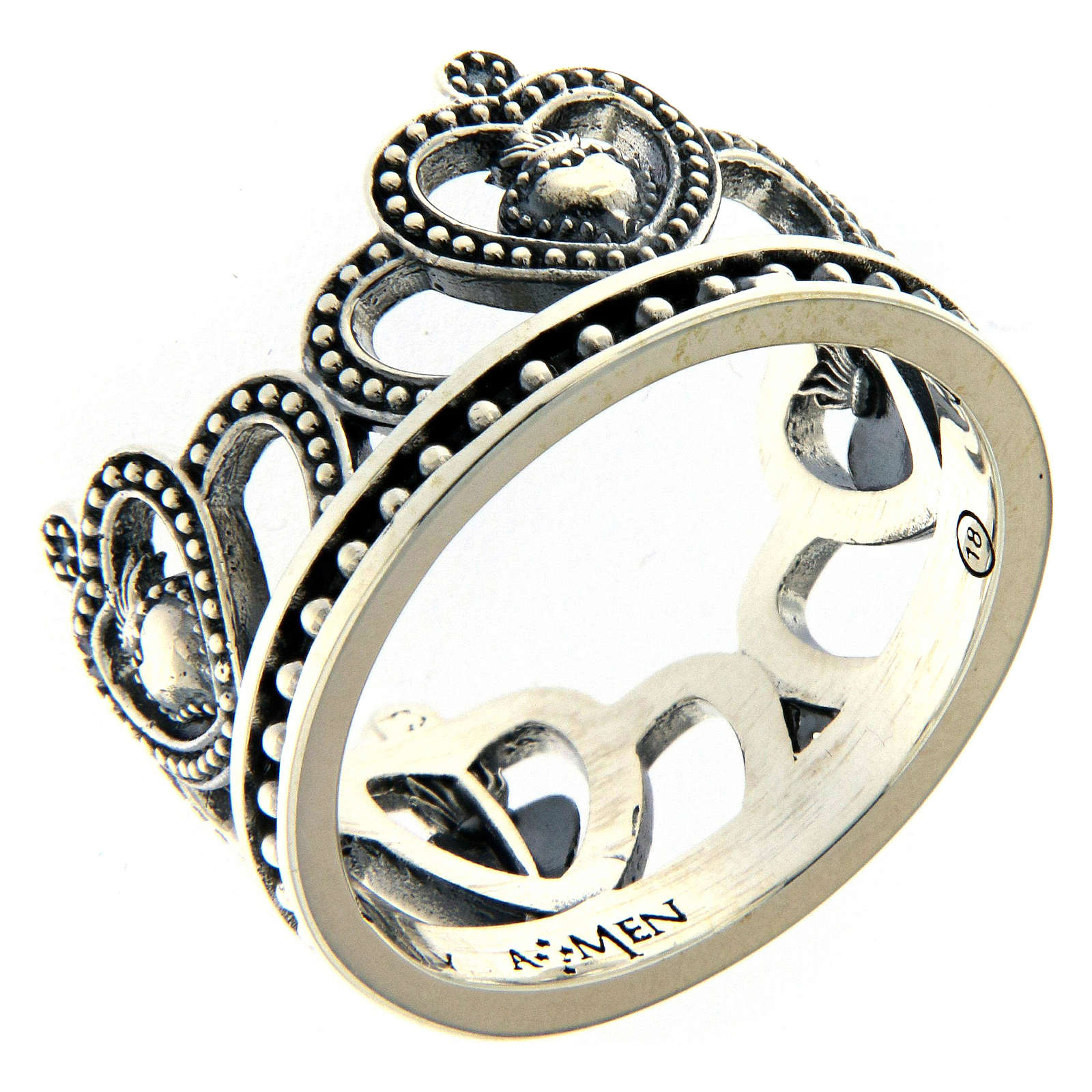 AMEN ring in burnished 925 silver with hearts 3