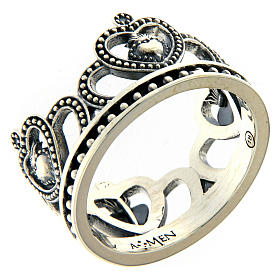 AMEN ring in burnished 925 silver with hearts s1