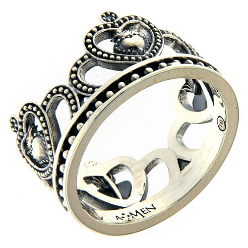 AMEN ring in burnished 925 silver with hearts 1