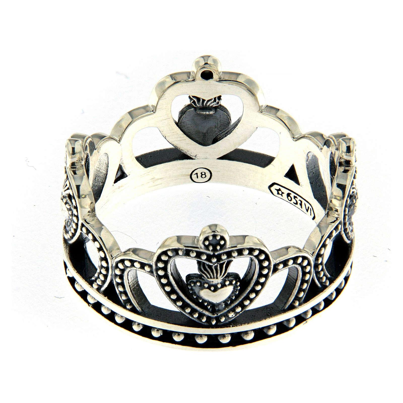 Anello AMEN argento 925 brunito corona  3