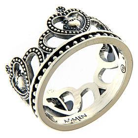 Anello AMEN argento 925 brunito corona  s1