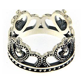 Anello AMEN argento 925 brunito corona  s3