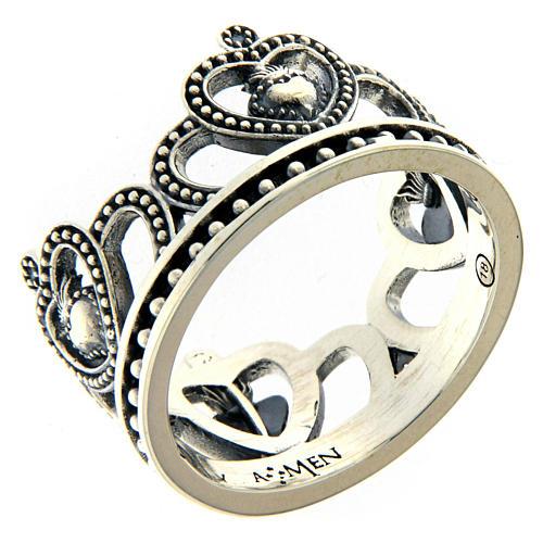 Anello AMEN argento 925 brunito corona  1