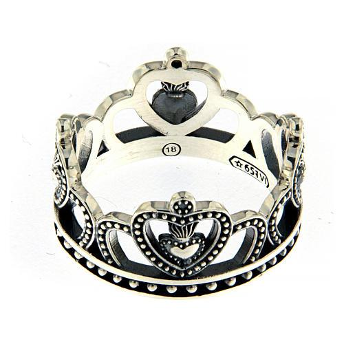 Anello AMEN argento 925 brunito corona  2