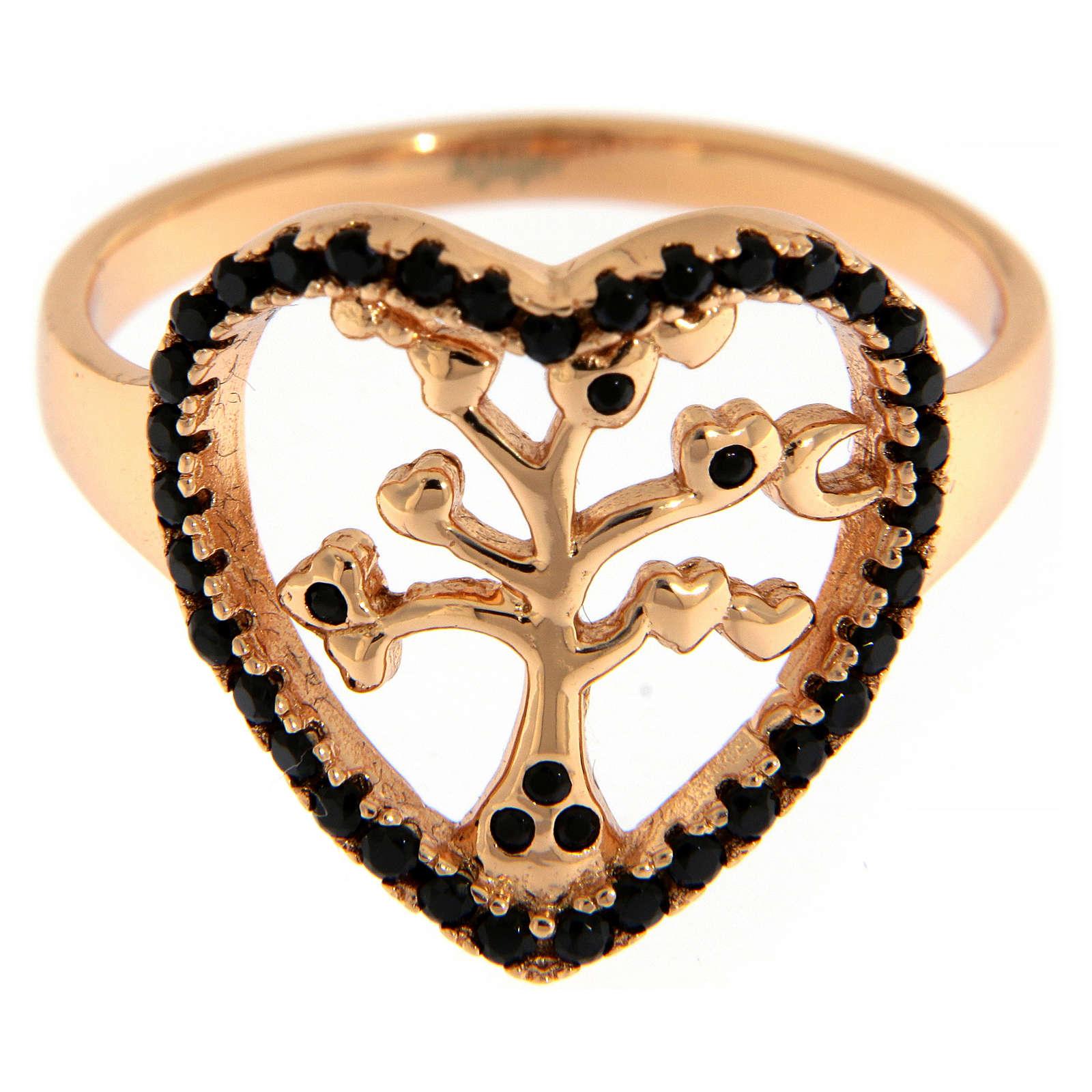 Anillo AMEN plata 925 rosada árbol de la vida zircones negros 3