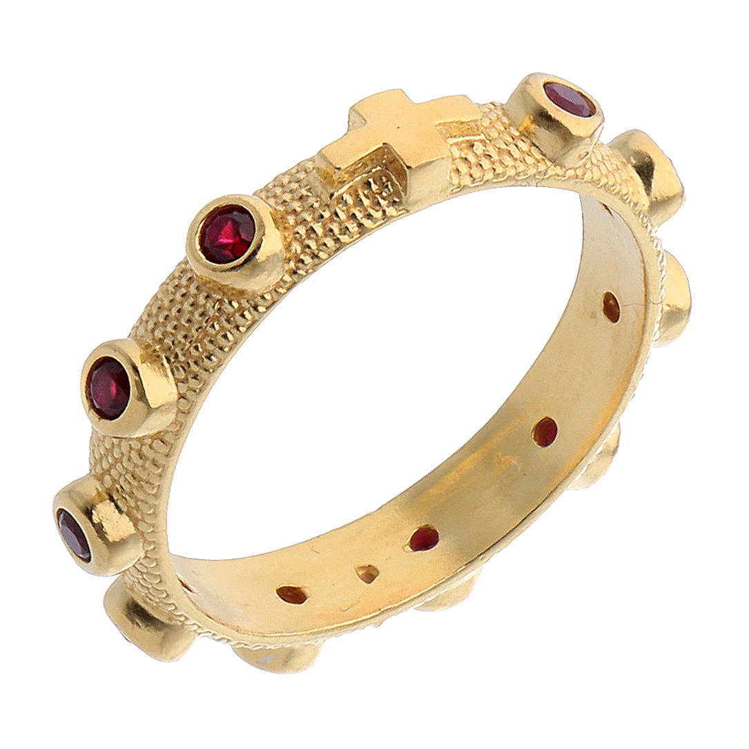 Rosary ring in 800 silver with red zircons, golden 3