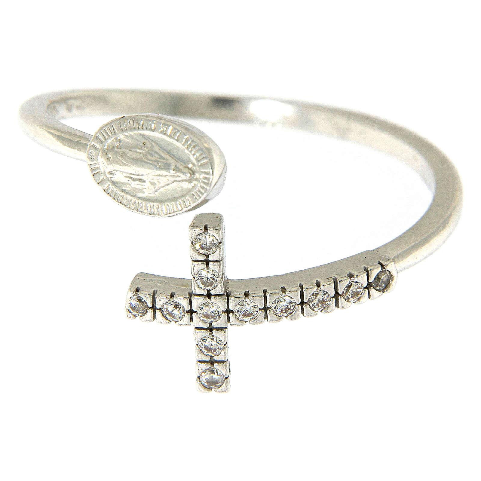 Ring Silber 925 wunderbare Medaille und Kreuz mit Zirkonen 3