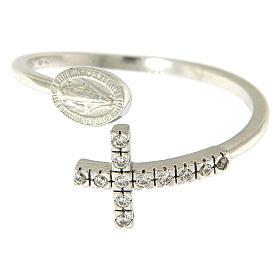 Ring Silber 925 wunderbare Medaille und Kreuz mit Zirkonen s2