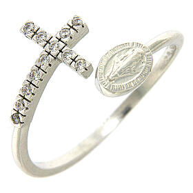 Ring with miraculous medal in 925 silver and white rhinestones s1
