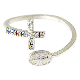 Ring with miraculous medal in 925 silver and white rhinestones s3