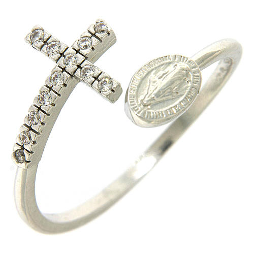 Ring with miraculous medal in 925 silver and white rhinestones 1