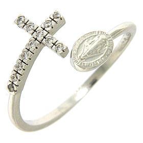 Anello medaglia miracolosa argento 925 e zirconi bianchi s1