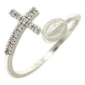 Anello medaglia miracolosa argento 925 e zirconi bianchi