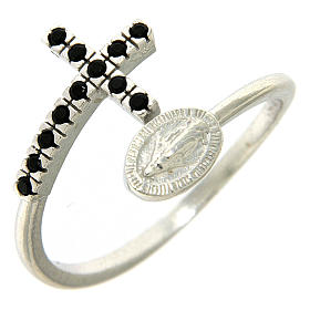 Ring with miraculous medal in 925 silver and black rhinestones s1