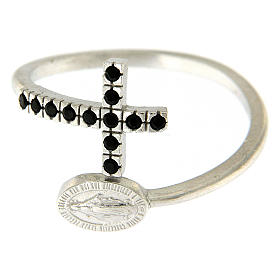 Bague argent 925 médaille miraculeuse et croix avec zircons noirs s3