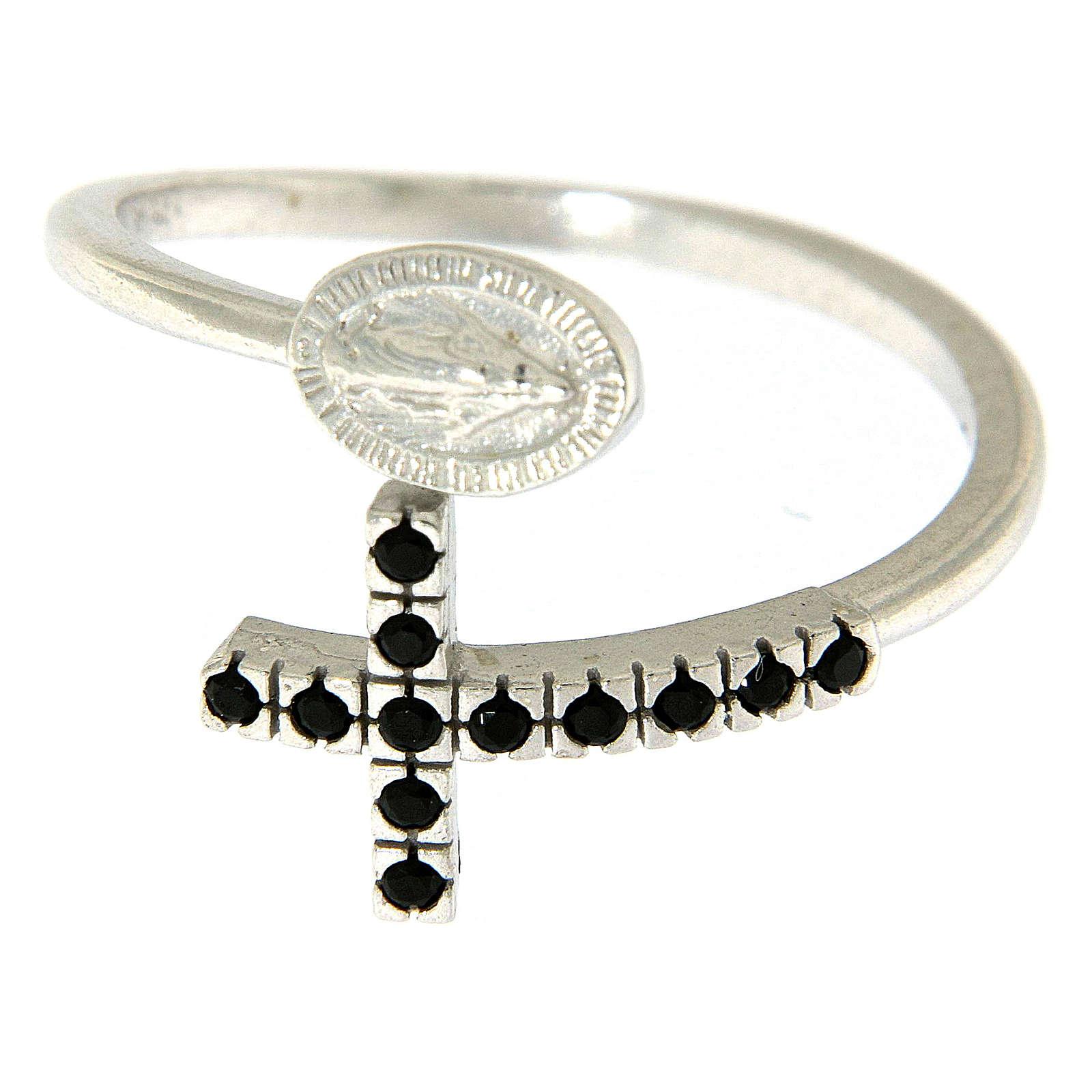 Anello argento 925 medaglia miracolosa e croce con zirconi neri 3