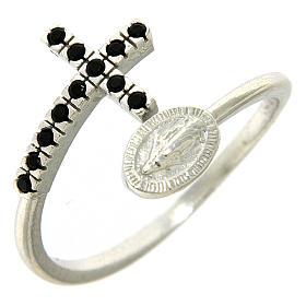 Anello argento 925 medaglia miracolosa e croce con zirconi neri s1