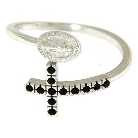 Anello argento 925 medaglia miracolosa e croce con zirconi neri s2