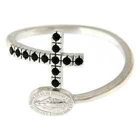 Anello argento 925 medaglia miracolosa e croce con zirconi neri s3