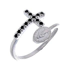 Anello argento 925 medaglia miracolosa e croce con zirconi neri