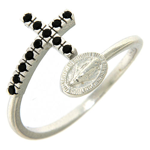 Anello argento 925 medaglia miracolosa e croce con zirconi neri 1