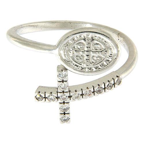 Ring Silber 925 Benediktsmedaille und Kreuz mit Zirkonen