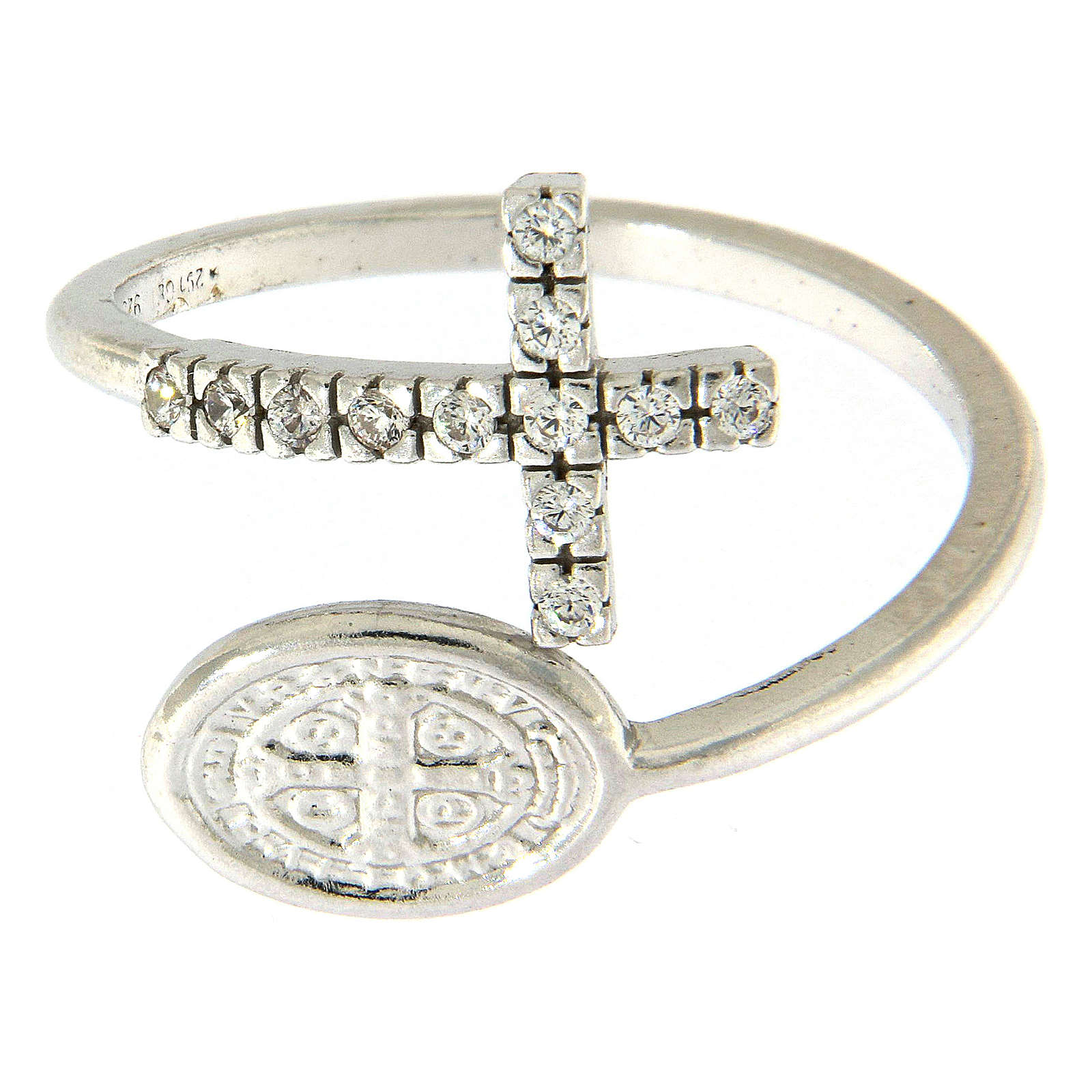 Ring with St. Benedict's medal in 925 silver and white rhinestones 3