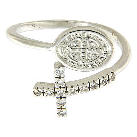 Ring with St. Benedict's medal in 925 silver and white rhinestones s2