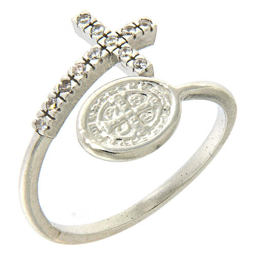 Ring with St. Benedict's medal in 925 silver and white rhinestones 1