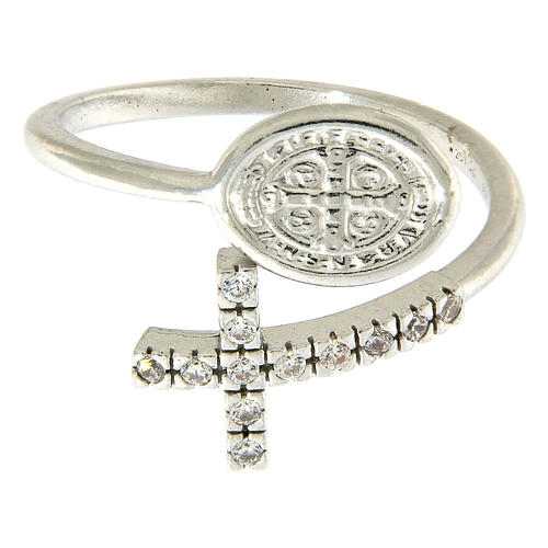 Ring with St. Benedict's medal in 925 silver and white rhinestones 2