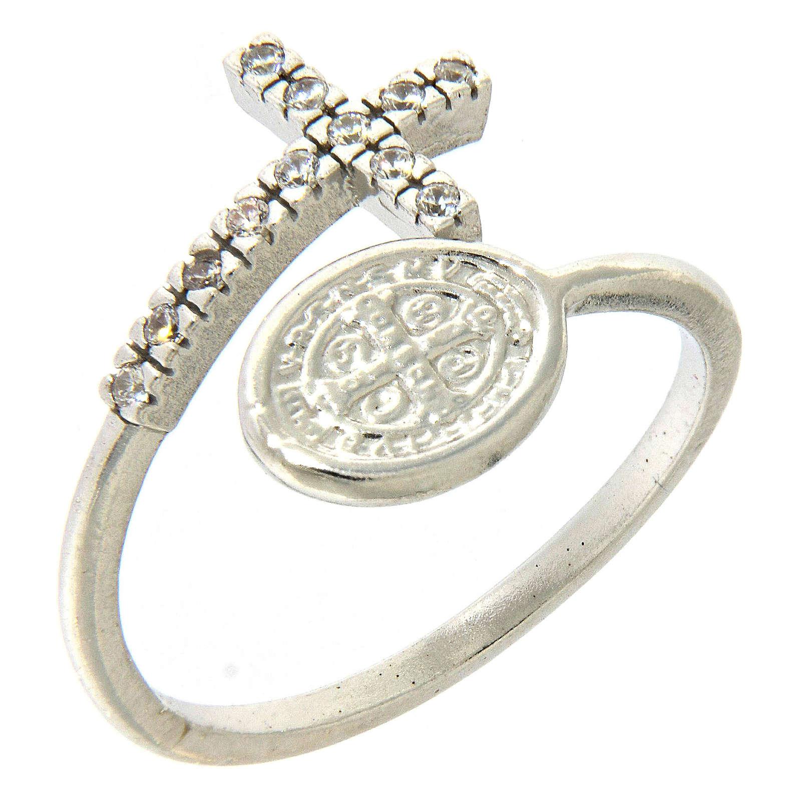 Anello medaglia San Benedetto argento 925 e zirconi bianchi 3