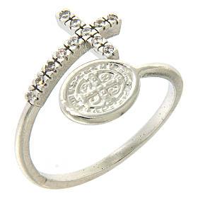 Anello medaglia San Benedetto argento 925 e zirconi bianchi s1