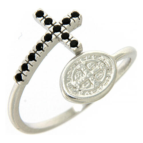Ring Silber 925 Benediktsmedaille und Kreuz