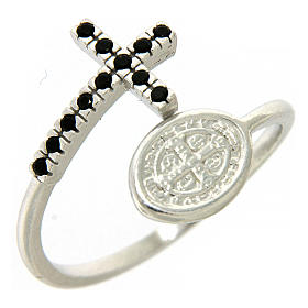 Ring with St. Benedict's medal in 925 silver and black rhinestones s1