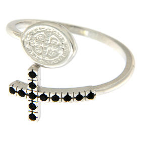 Ring with St. Benedict's medal in 925 silver and black rhinestones s2