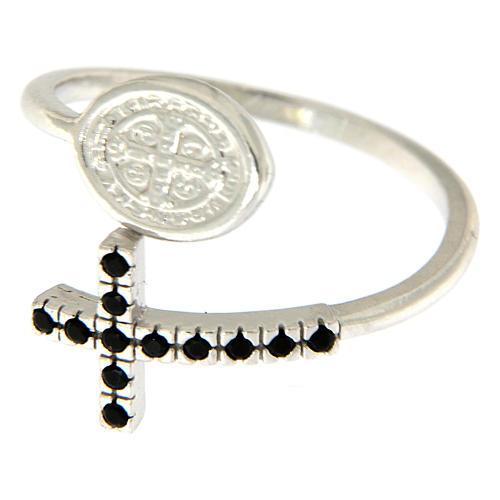 Anello argento 925 medaglia San Benedetto e croce con zirconi neri 2