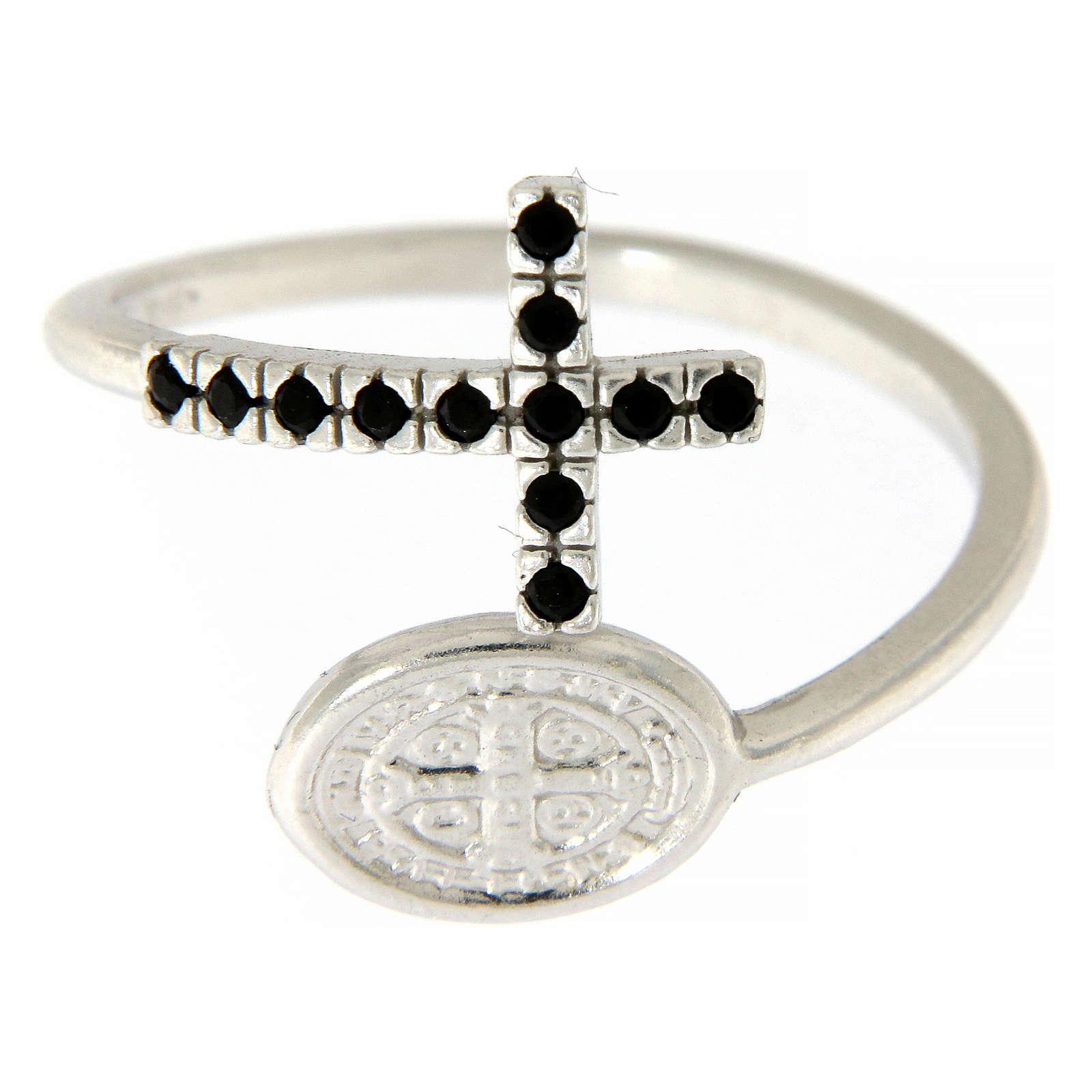 Pierścionek srebro 925 medalik Święty Benedykt i krzyż z cyrkoniami czarnymi 3