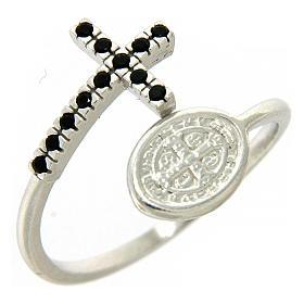 Pierścionek srebro 925 medalik Święty Benedykt i krzyż z cyrkoniami czarnymi s1