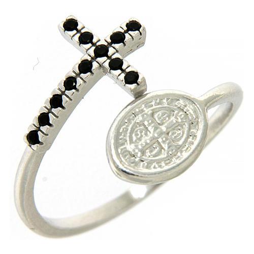 Pierścionek srebro 925 medalik Święty Benedykt i krzyż z cyrkoniami czarnymi 1