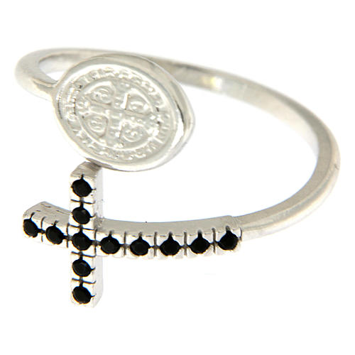 Pierścionek srebro 925 medalik Święty Benedykt i krzyż z cyrkoniami czarnymi 2