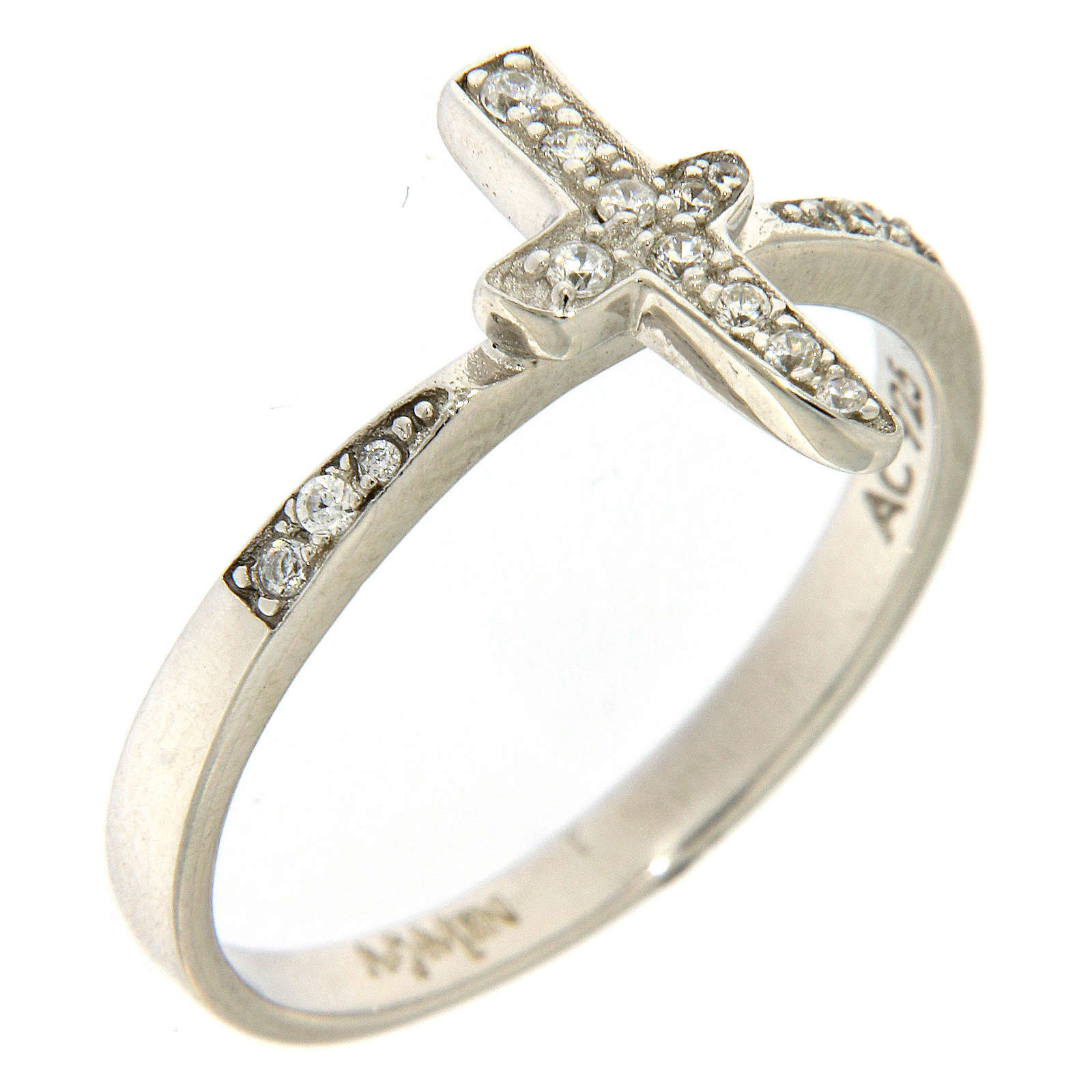 AMEN ring with cross in 925 silver with white rhinestones 3