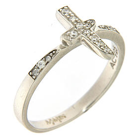 AMEN ring with cross in 925 silver with white rhinestones s1