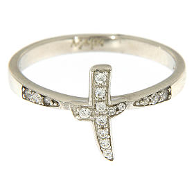 AMEN ring with cross in 925 silver with white rhinestones s3
