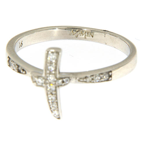 AMEN ring with cross in 925 silver with white rhinestones 2