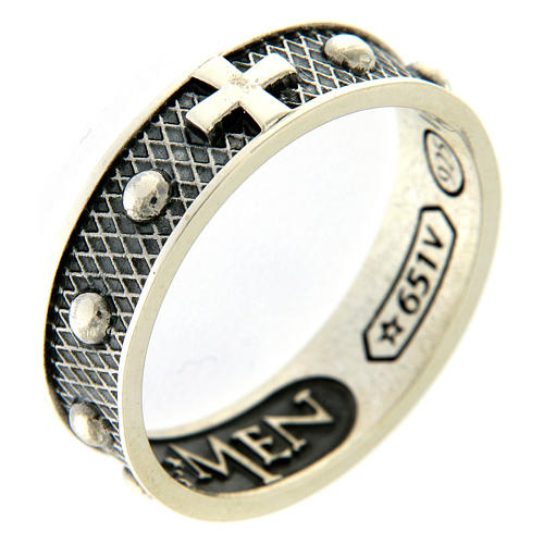 AMEN ring in burnished 925 silver 1