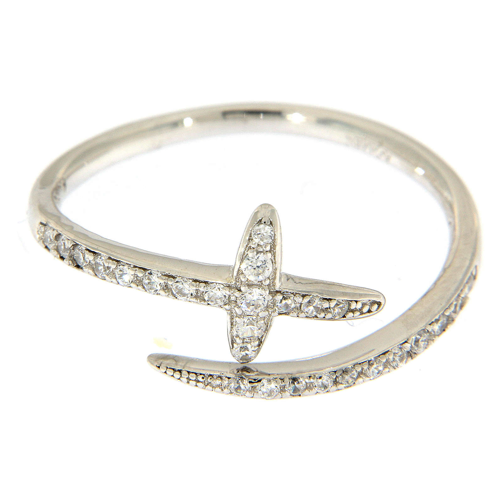AMEN ring with cross and rhinestones in 925 silver 3