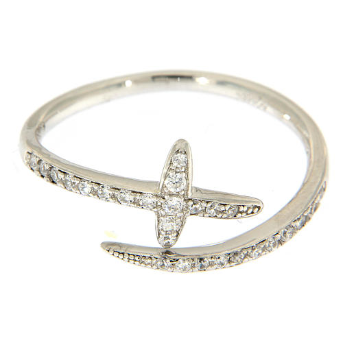 AMEN ring with cross and rhinestones in 925 silver 2