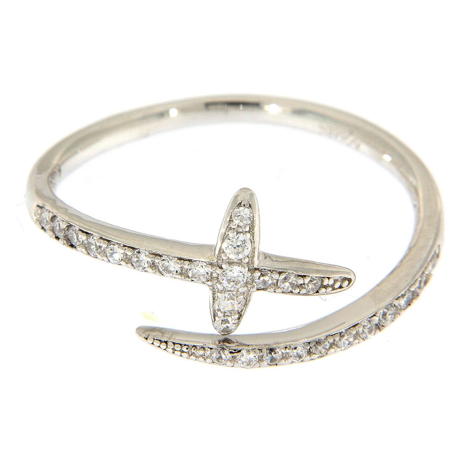 Anello AMEN aperto croce e zirconi argento 925  3