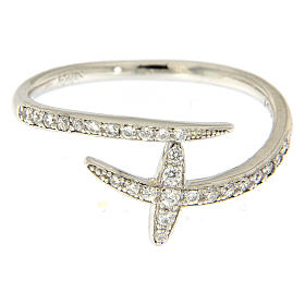 Anello AMEN aperto croce e zirconi argento 925  s3