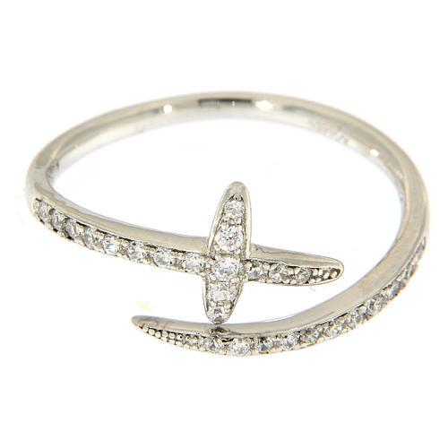 Anello AMEN aperto croce e zirconi argento 925  2